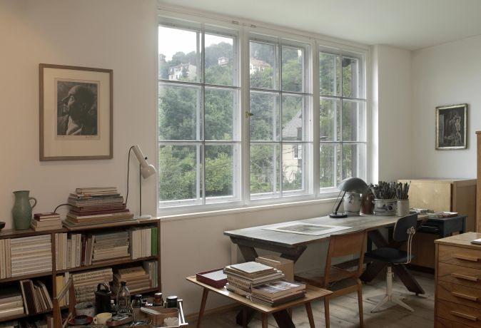Blick in das ehemalige Atelier Josef hegenbarths, Josef Hegenbarth Archiv Foto: Boswank (c) SKD