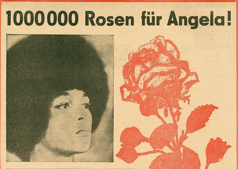 1 Million Rosen für Angela Postkartenvorlage 1971 Junge Welt (Ausschnitt) (c) Verlag 8. Mai GmbHjunge Welt